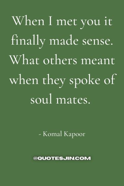 When I met you it finally made sense. What others meant when they spoke of soul mates. - Love of My Life Quotes