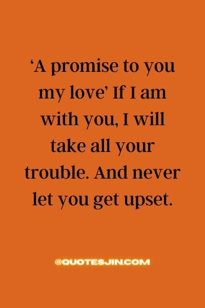 'A promise to you my love' If I am with you, I will take all your trouble. And never let you get upset. - Love of My Life Quotes